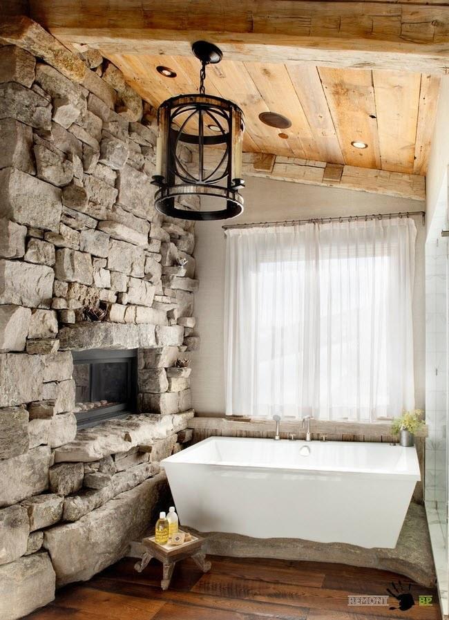 Деревянный потолок для ванной комнаты