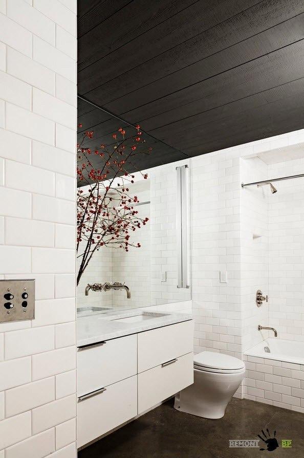 Темные оттенки на потолке ванной