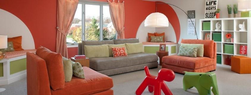 Оформление гостиной в оранжевых тонах