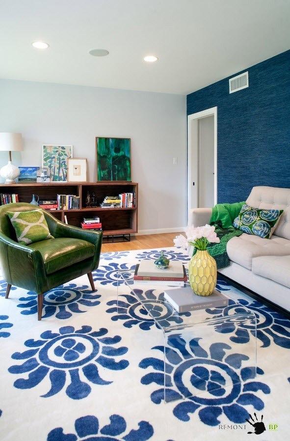 Дизайны гостиной с в синем оттенке цвете