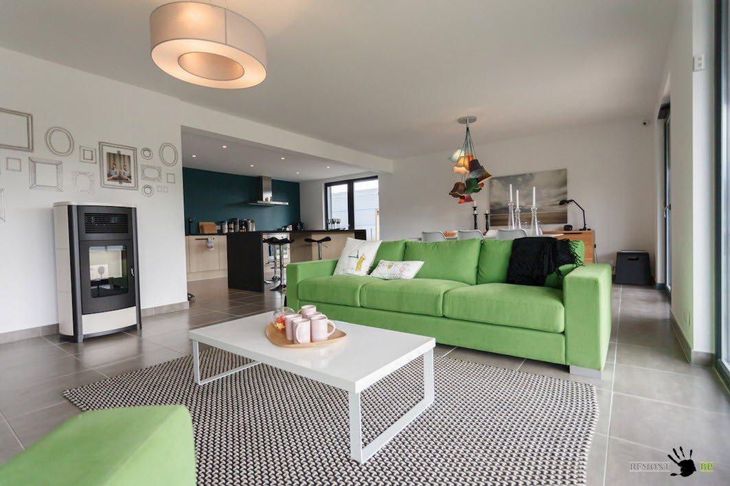 Зеленый цвет мягкой мебели