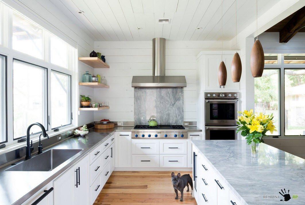 Г-образная планировка кухни: 35 идей дизайна на фото