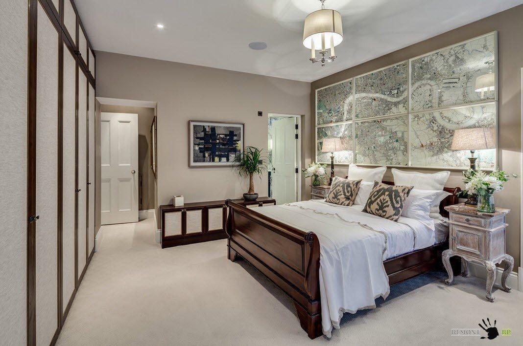 Модульная картина в оформлении спальни