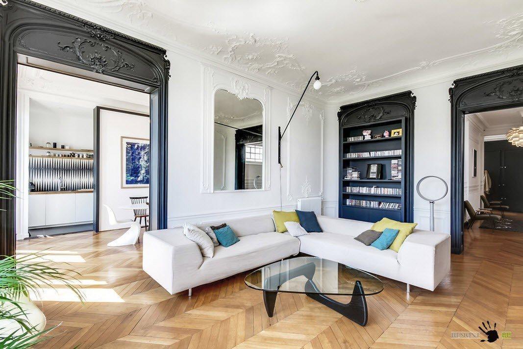 Светлый интерьер и дизайн квартиры в Париже на фото