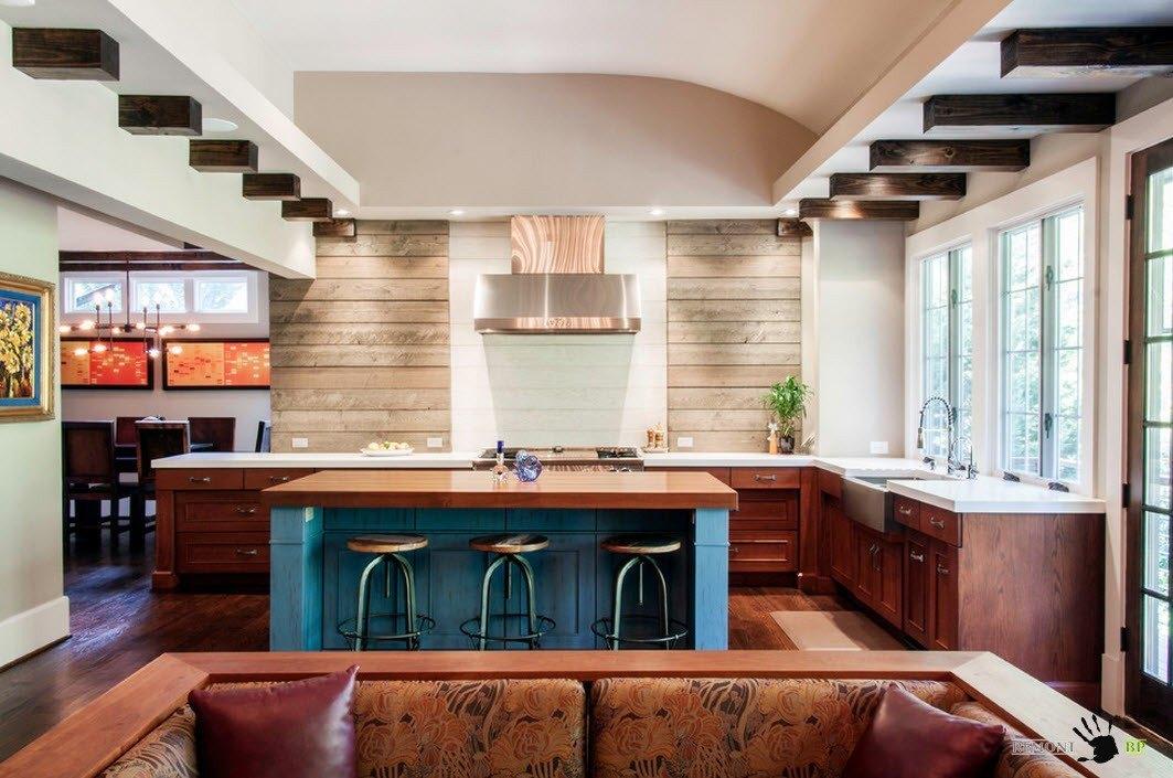 Кухня в углу помещения