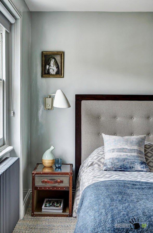 Оттенки серого в спальне в стиле лофт