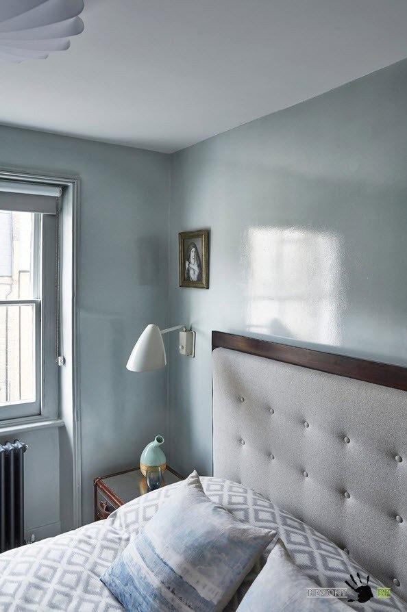 Серые глянцевые стены для спальни