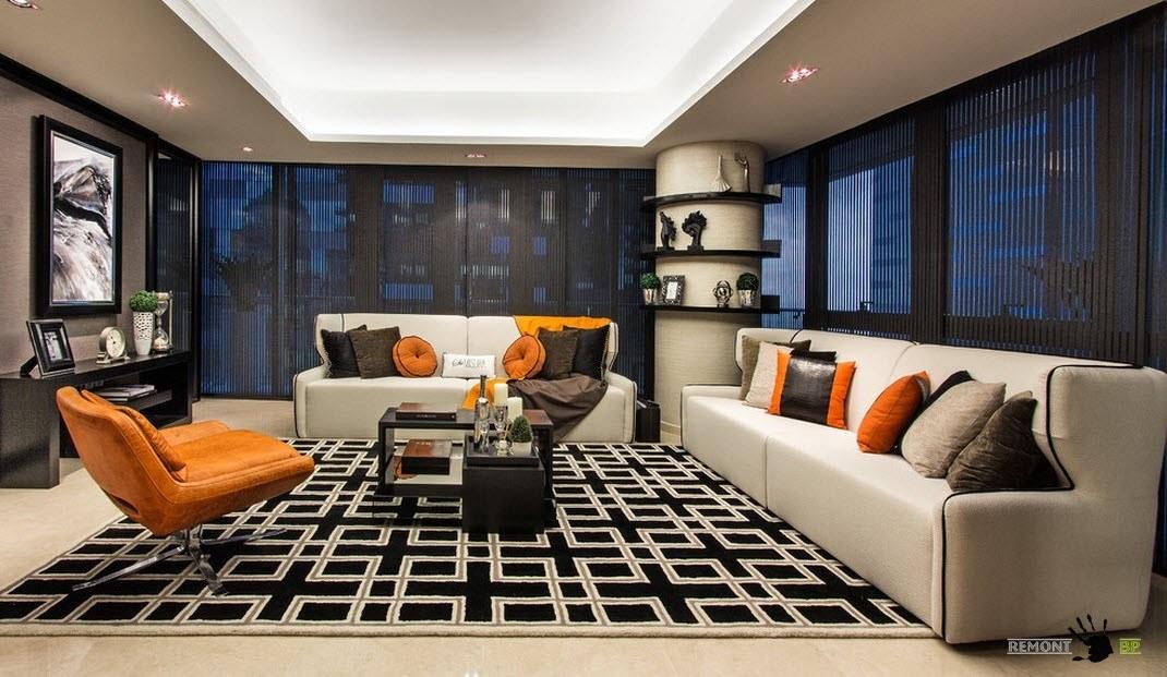 Контрастный интерьер гостиной