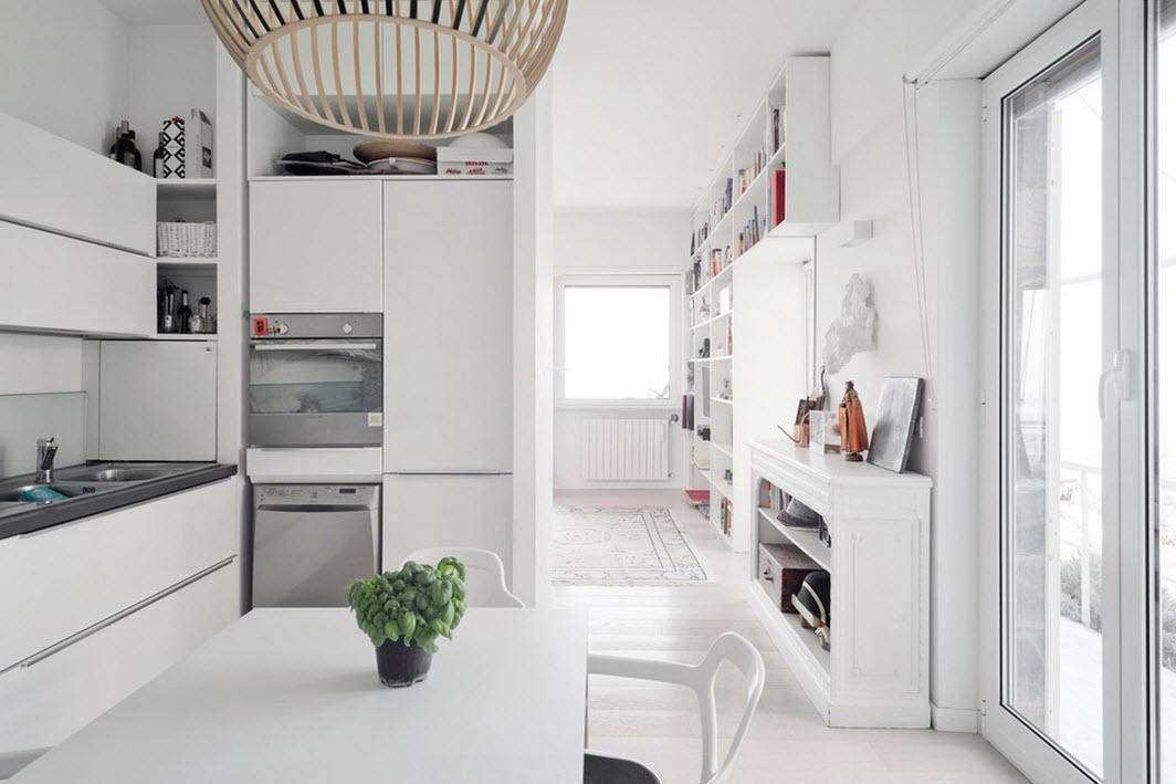 Кухня-столовая с белым интерьером