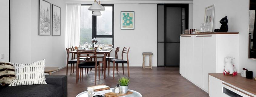Бело-черный интерьер шанхайской квартиры