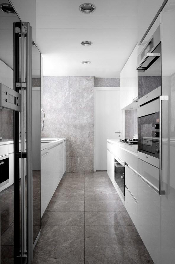 Параллельная планировка кухонного гарнитура