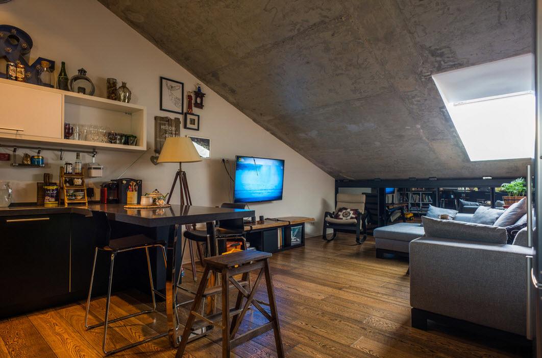 Бетонный потолок как изюминка интерьера