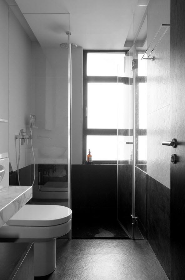 Черно-белая отделка утилитарного помещения