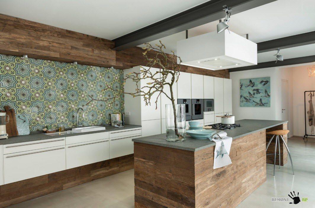Керамическая плитка с принтом для отделки кухни