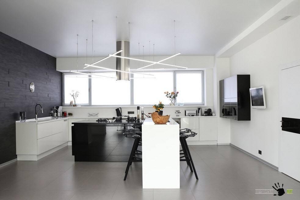 Описание: Бело-черный интерьер кухни