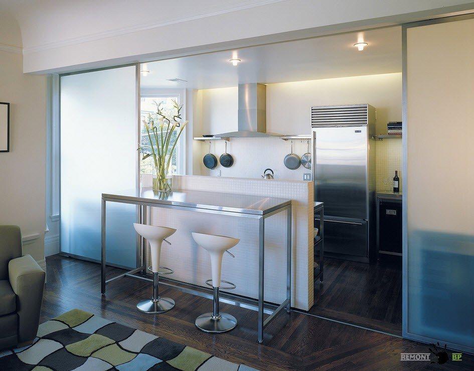 Зонирование кухни от гостиной