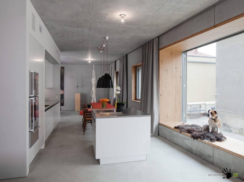 Кухня с бетонной отделкой