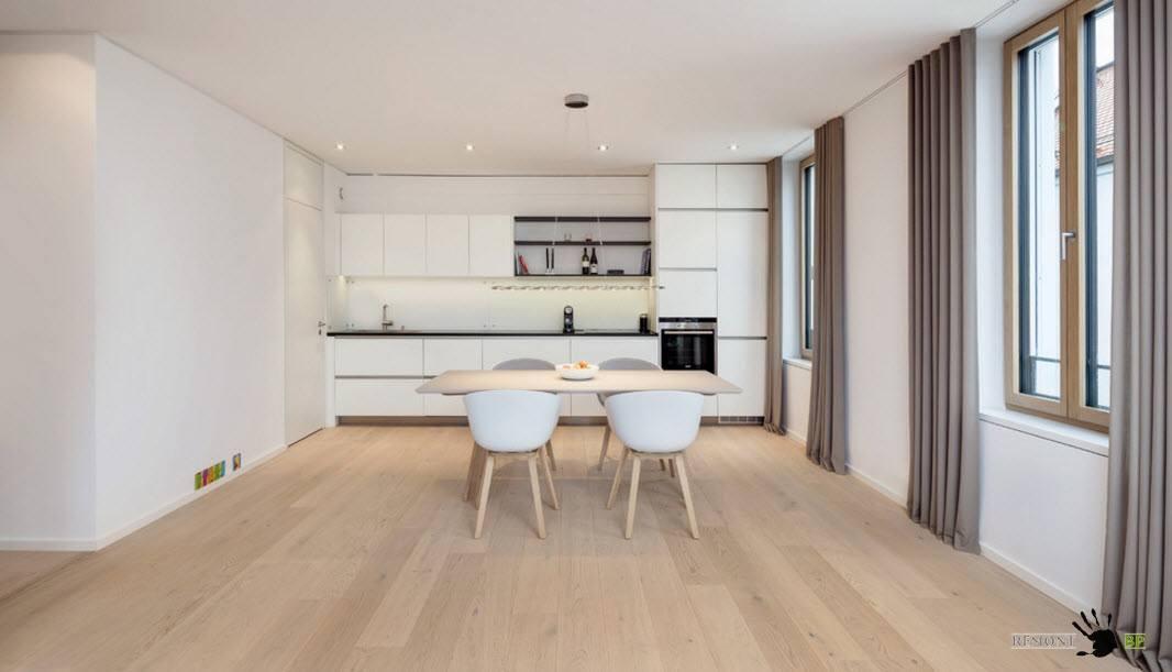 Однорядный гарнитур для просторной кухни