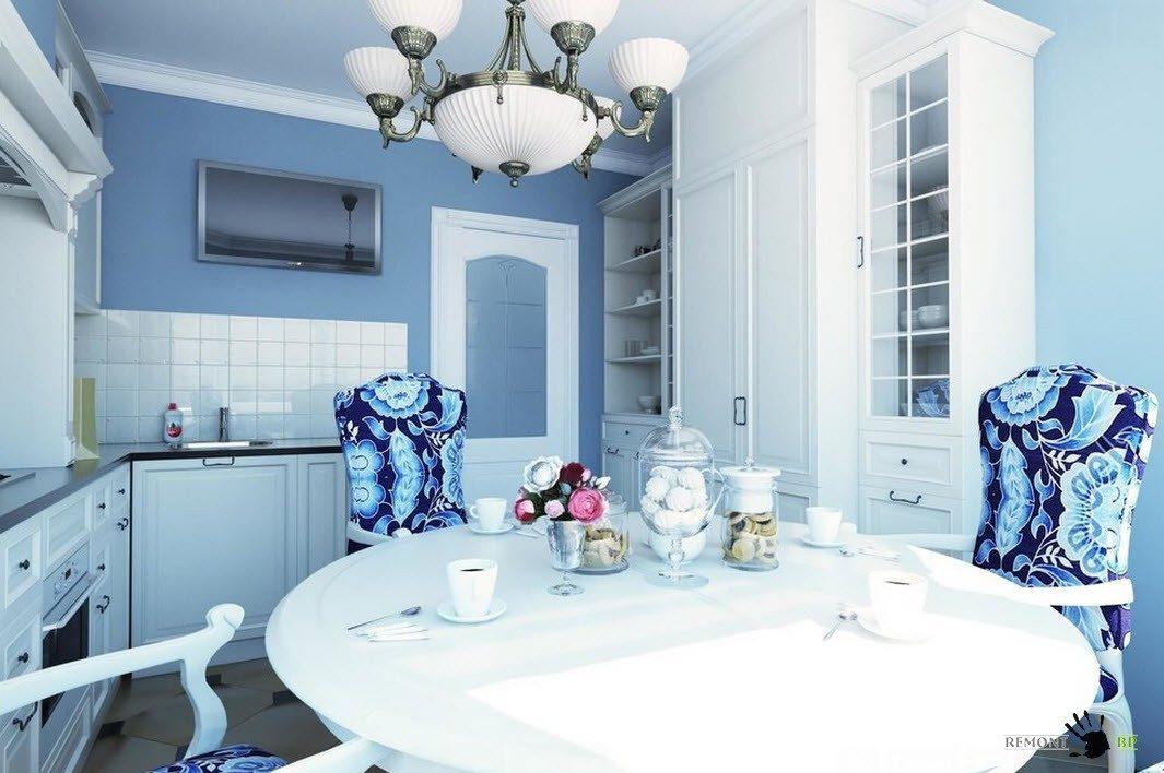 Описание: Бело-синяя кухня