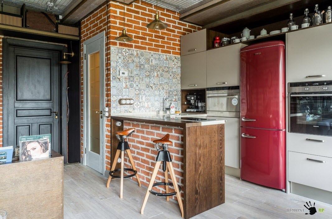 Описание: Серые фасады для яркой кухни