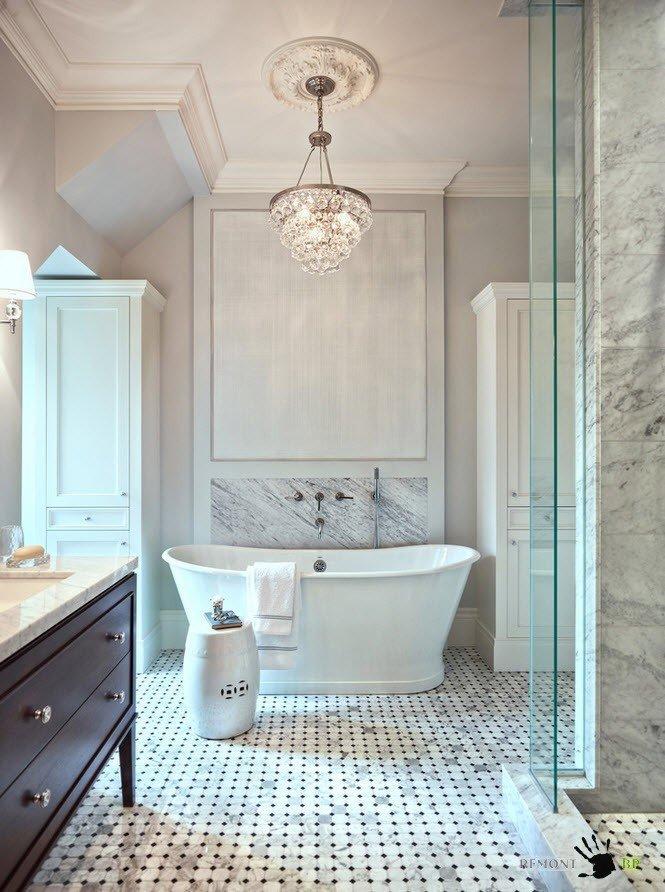 Стекло и мрамор для шикарной ванной