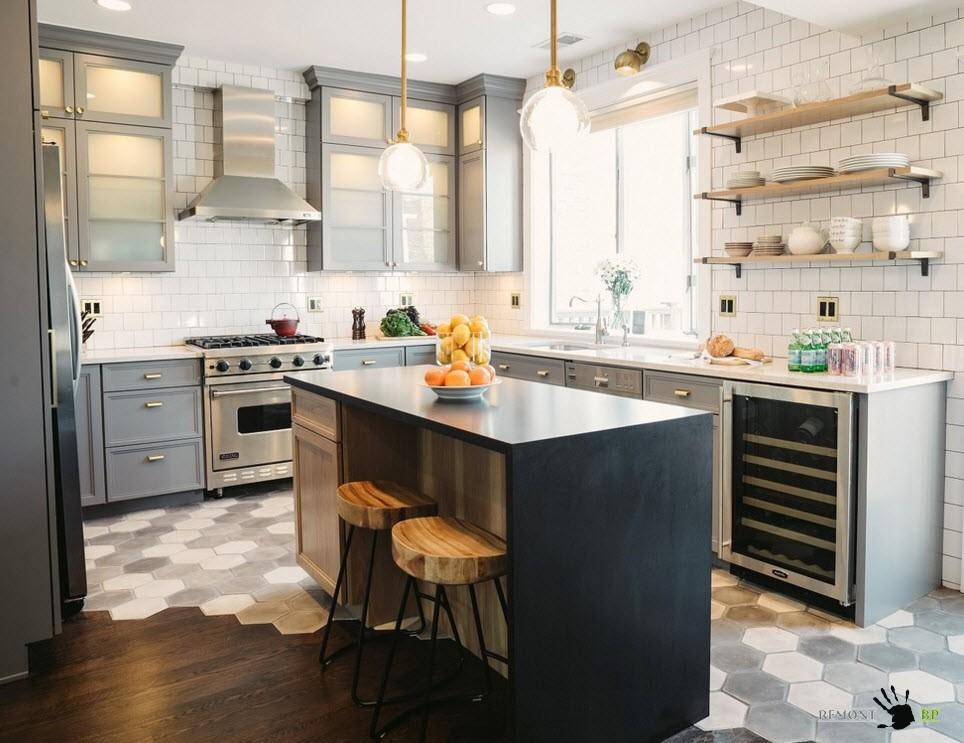 Необычные полы для кухни