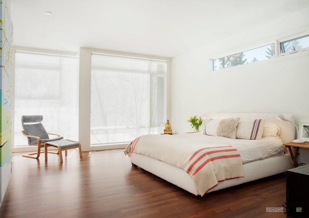 Ламинат для белоснежной спальни