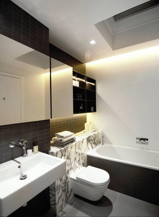 Черно-белое оформление ванной