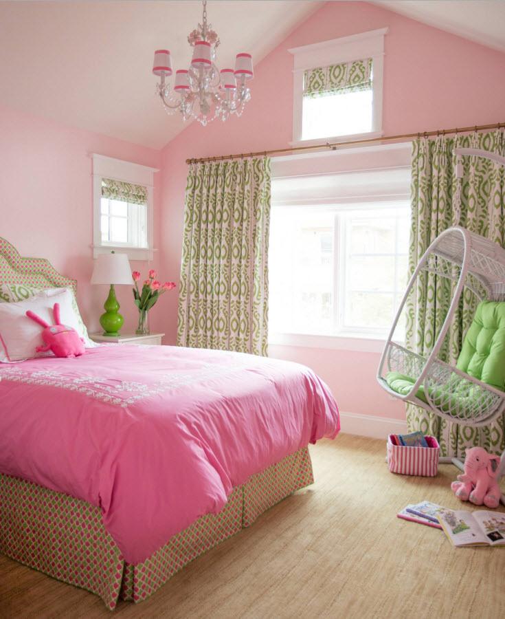 Сочетание розового и зеленого в детской