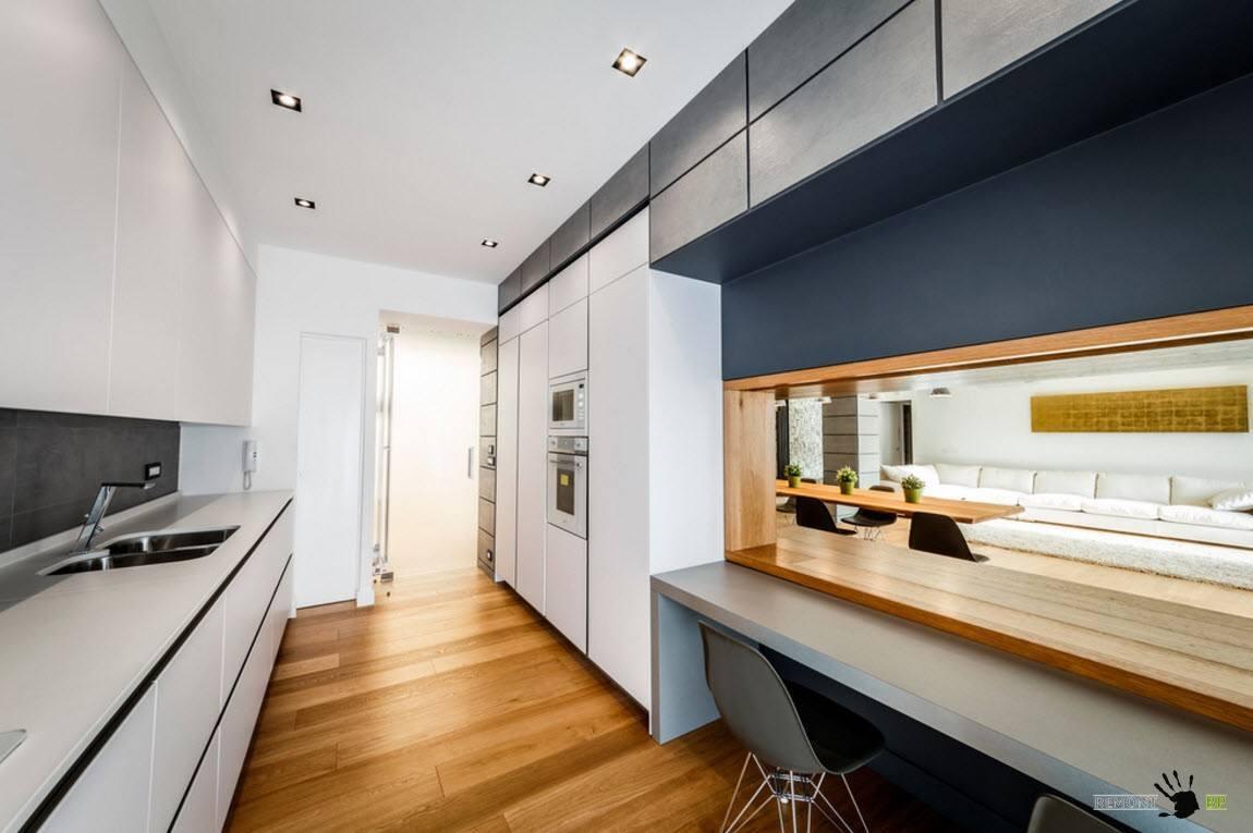 Бело-серый интерьер кухни