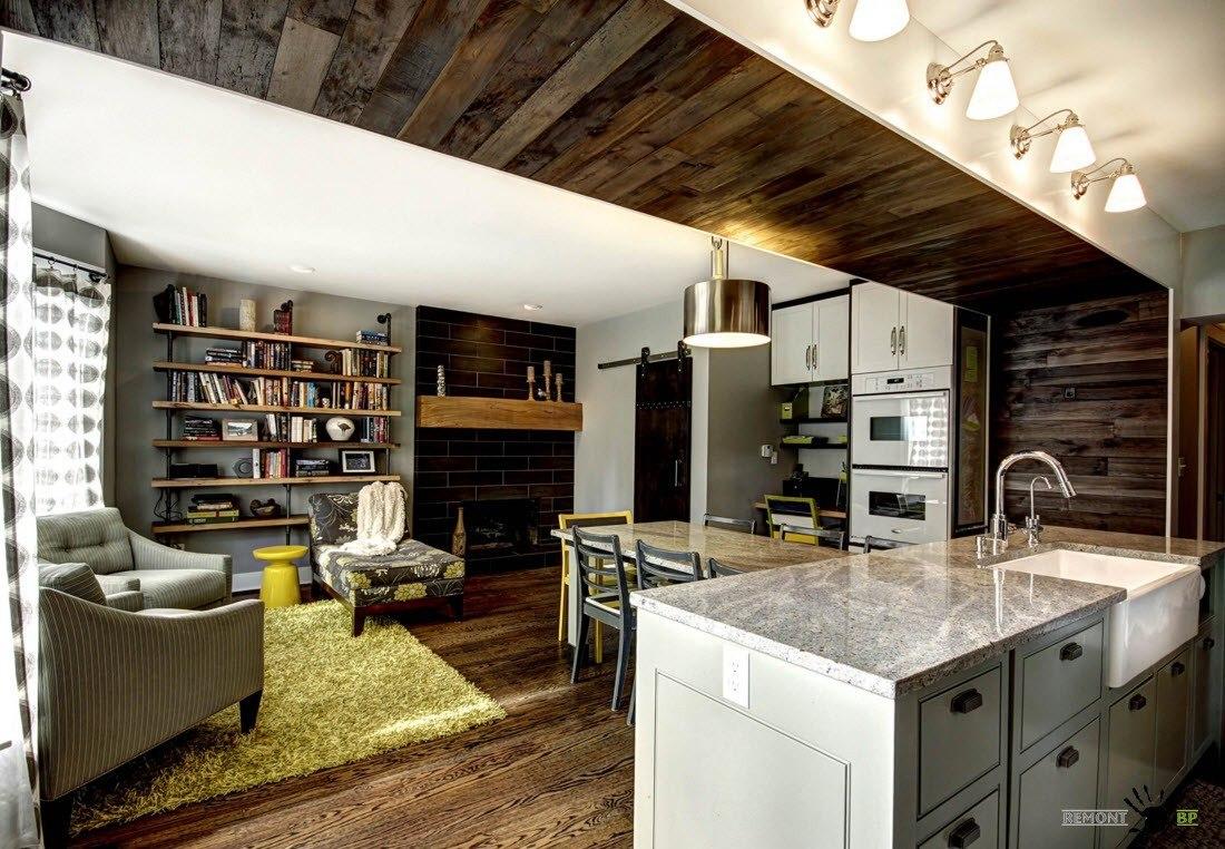 Контрастный комбинированный потолок