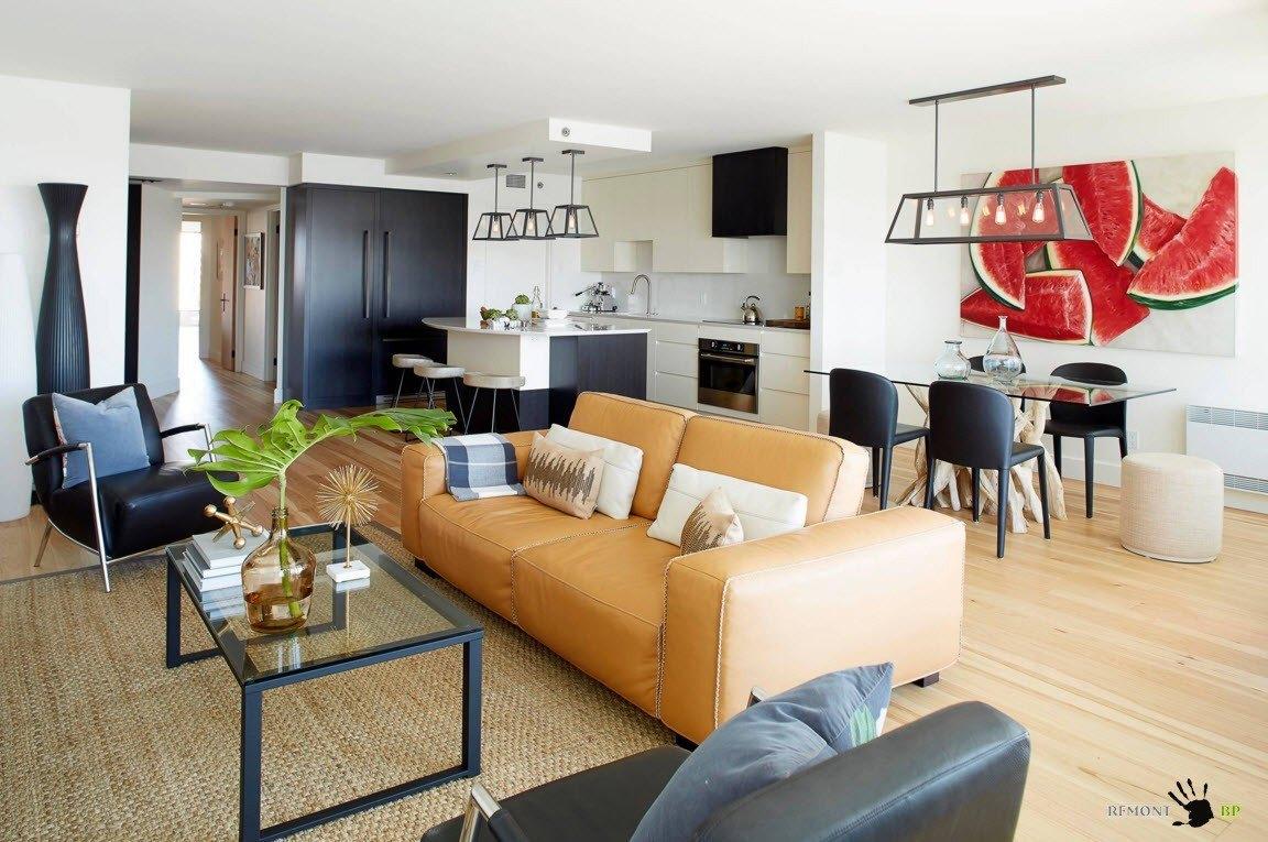 Совмещение гостиной с кухней и столовой