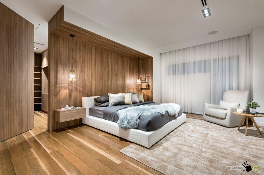 Отделка с помощью натурального дерева поверхностей спальни