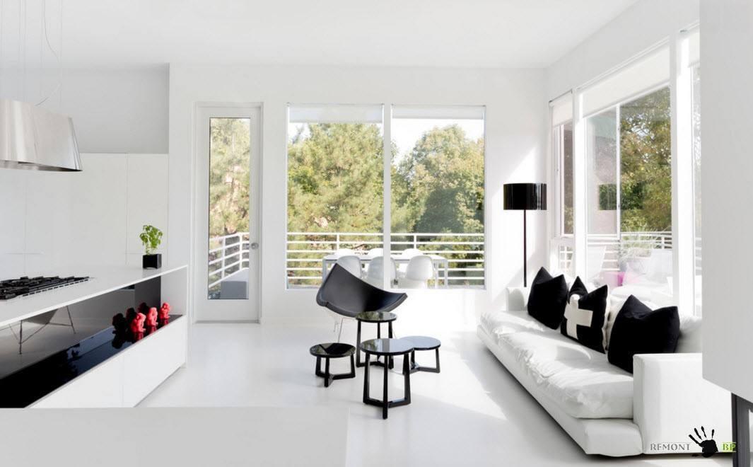 Черно-белые сочетания в гостиной