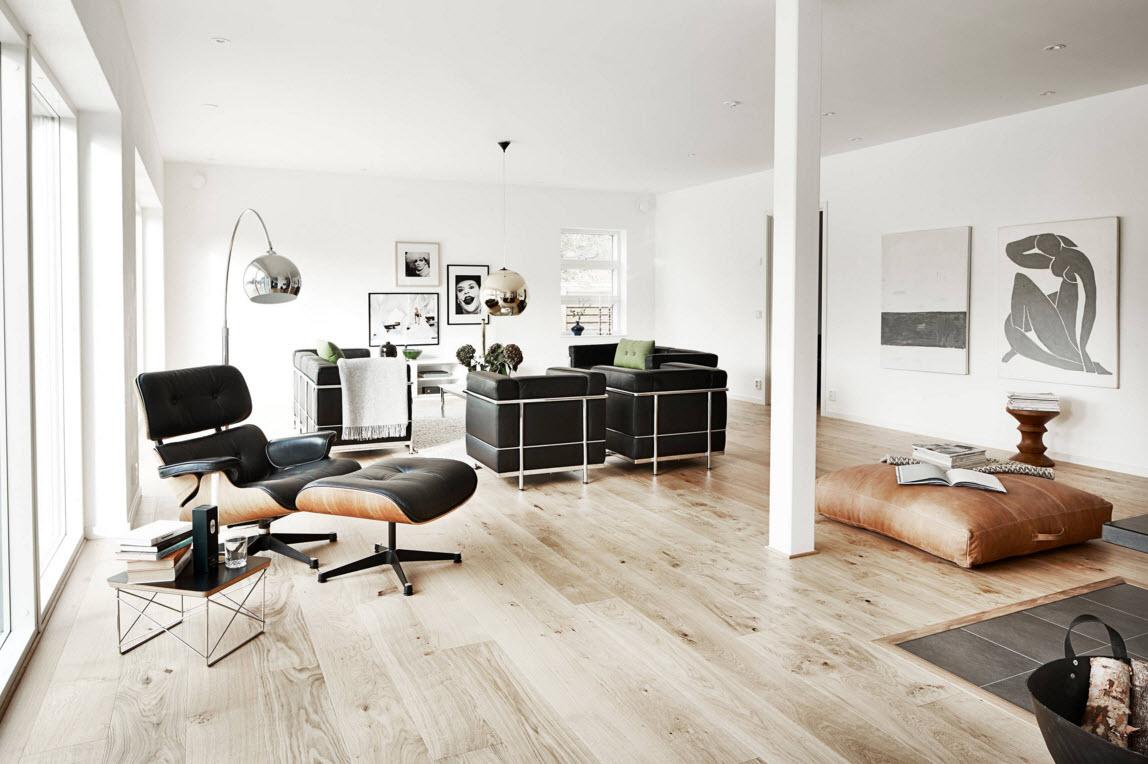 Контрастный дизайн просторной комнаты