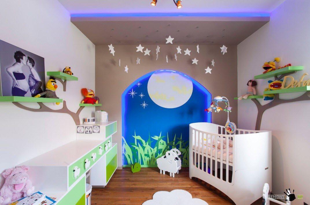 Яркий дизайн комнаты для младенца