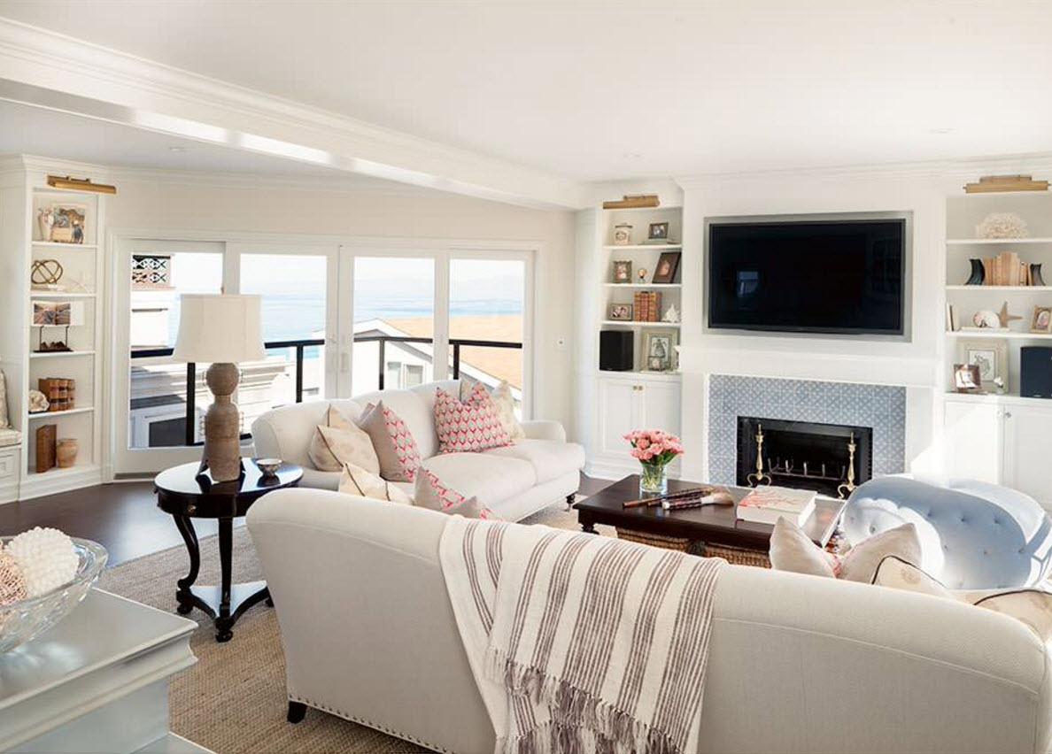 Светлые системы хранения для легкого образа гостиной