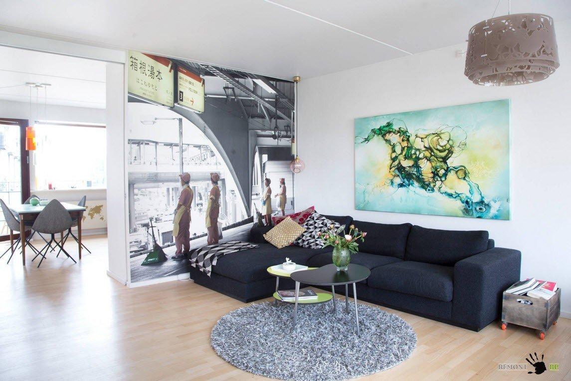 Темный угловой диван для гостиной