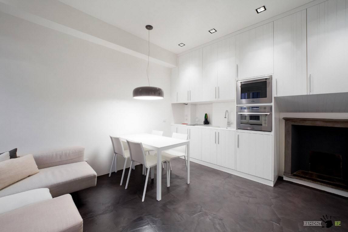 Белоснежная кухня-столовая-гостиная