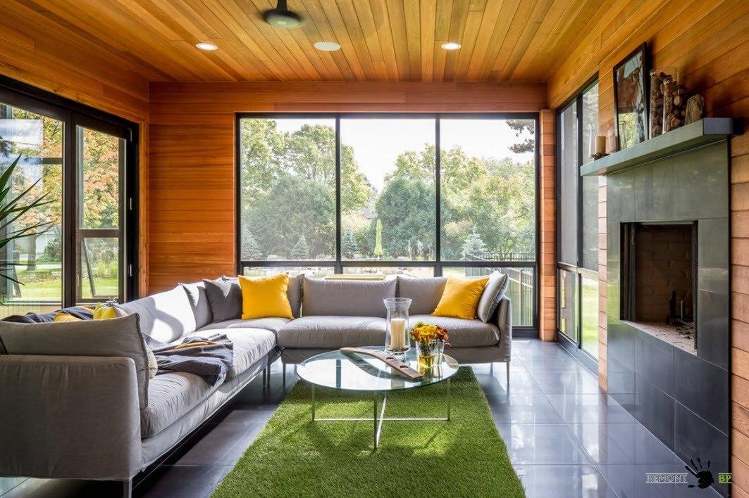 Близость к природе в дизайне гостиной