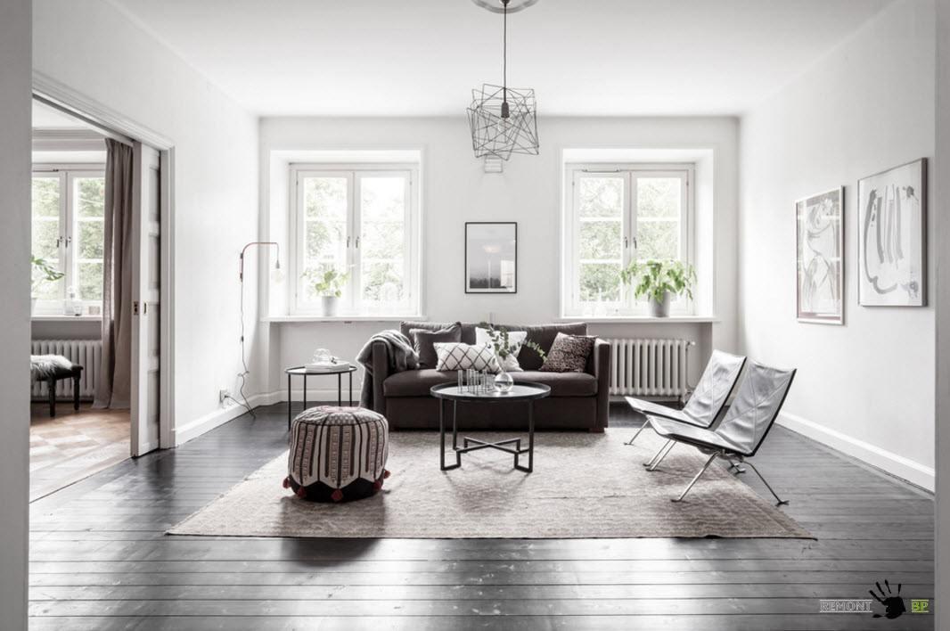 Свет и простор скандинавской гостиной