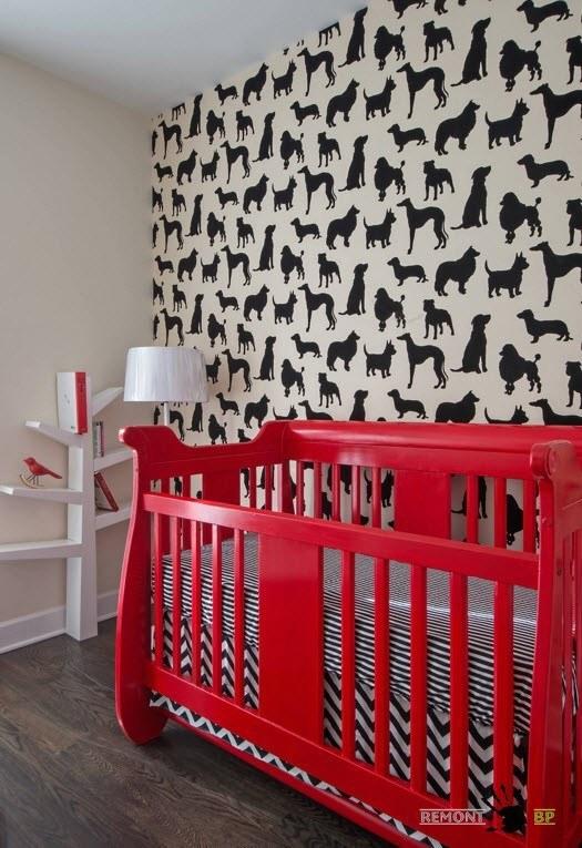 Черно-белая отделка детской комнаты