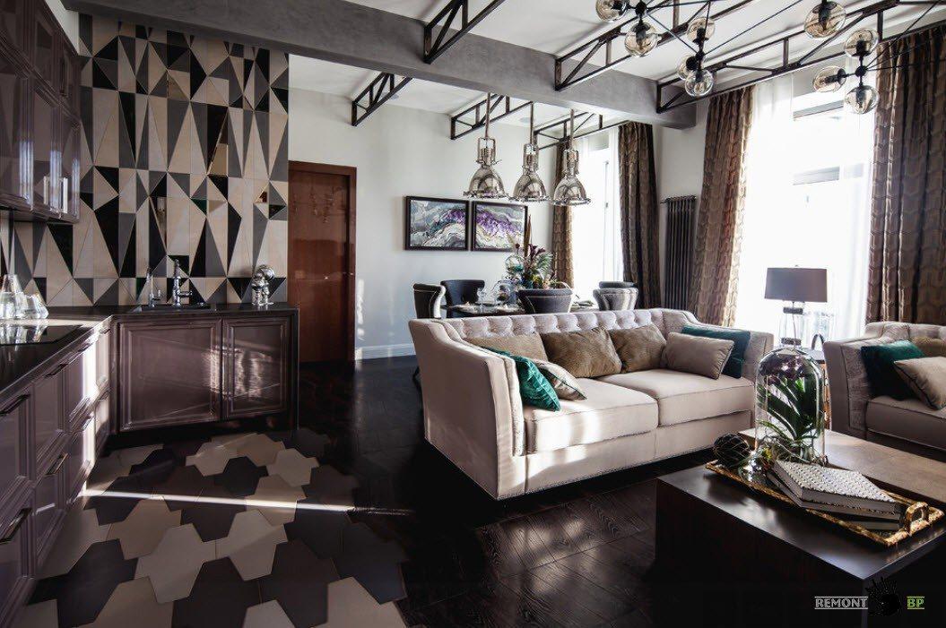 Контрастный дизайн совмещенного помещения
