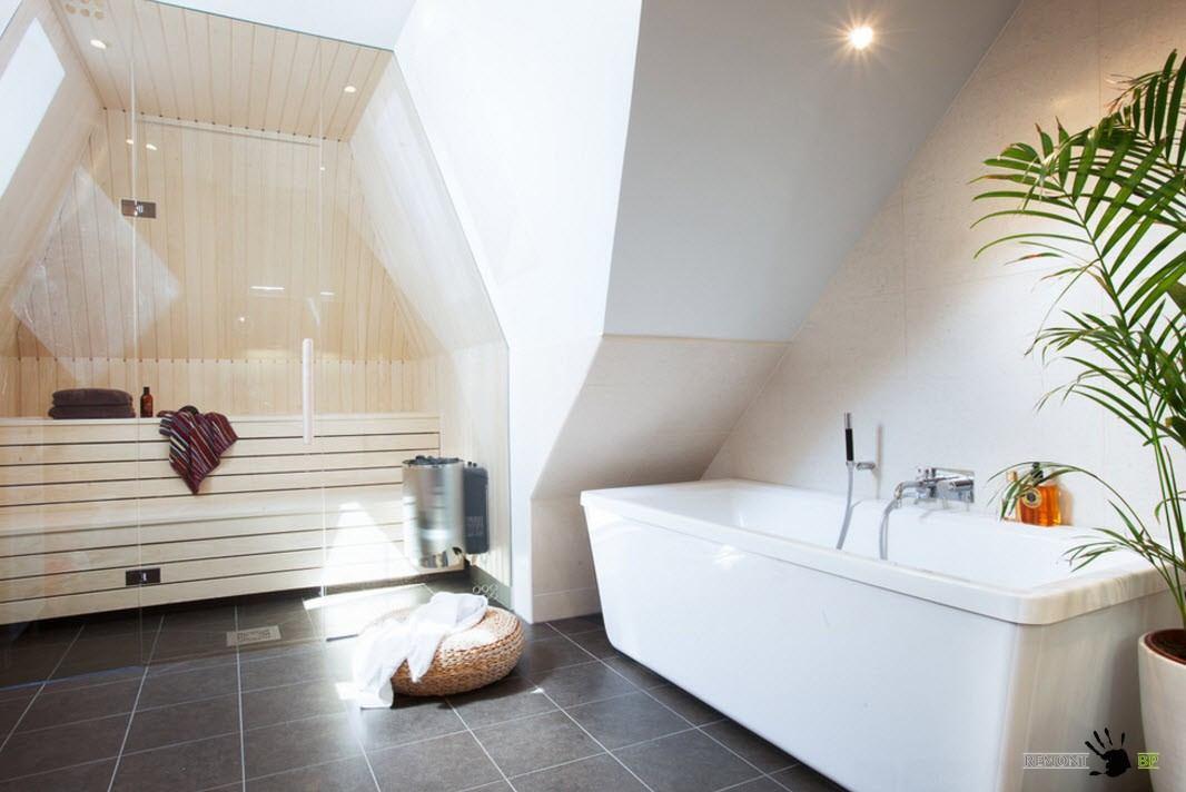 Ванная комната с сауной - оригинальный дизайн