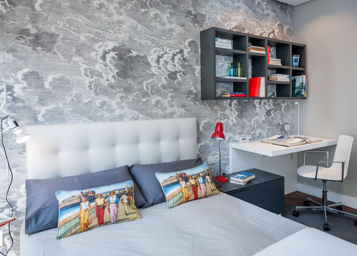 Спальня подростка в серых тонах