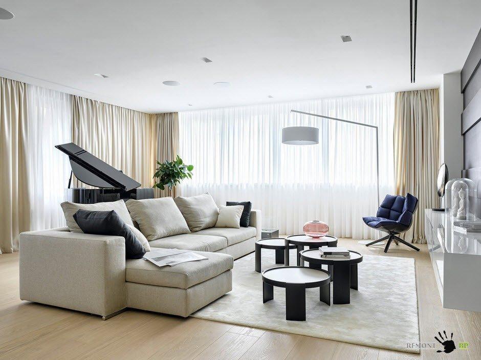 Оригинальная и практичная меблировка гостиной