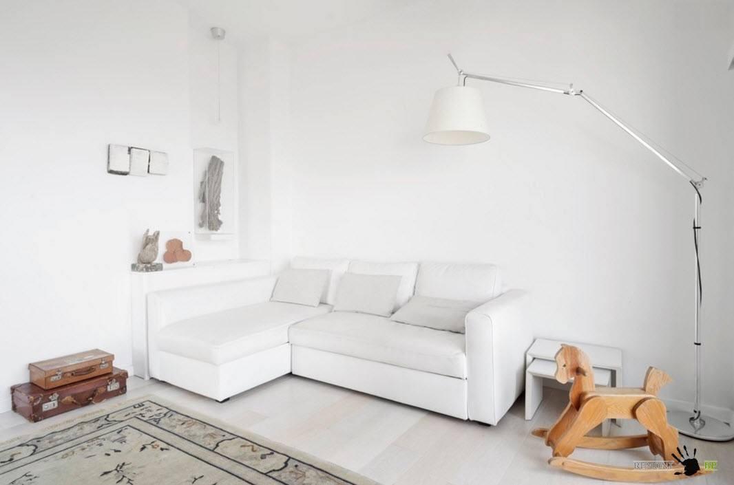 Белоснежный образ гостиной