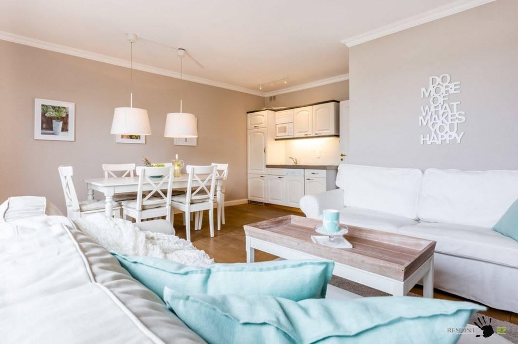 Открытая планировка гостиной, кухни и столовой