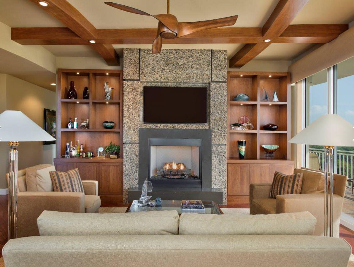 Системы хранения для гостиной с камином