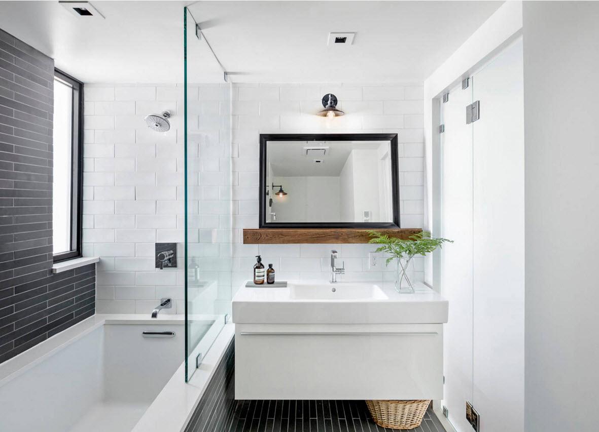 Бело-черная ванная комната
